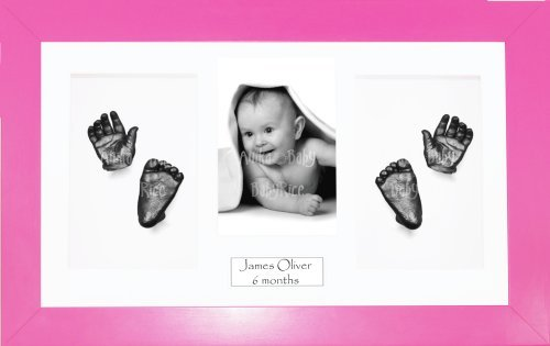 "BabyRice Baby Casting Kit / 14.5x8.5"" Pink Frame / White 4 Hole Mount / White Backing / Pewter Paint from Anika-Baby"