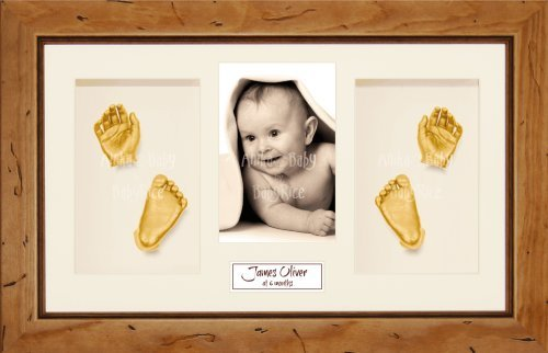 "BabyRice Baby Casting Kit / 14.5x8.5"" Rustic Pine Frame / Cream 4 Hole Mount / Cream Backing / Gold Paint from Anika-Baby"