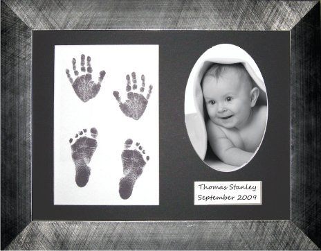 "BabyRice Baby Hand/Footprint Inkless Wipe Kit with 11.5x8.5"" brushed Pewter effect Display Frame / Black mount from Anika-Baby"