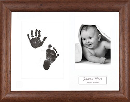 BabyRice Baby Hand & Footprint Kit Dark Wood Frame / White 3 Hole Mount / Black Inkless Prints from Anika-Baby