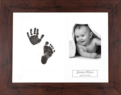 BabyRice Baby Hand & Footprint Kit Mahogany Effect Frame / White 3 Hole Mount / Black Inkless Prints from Anika-Baby