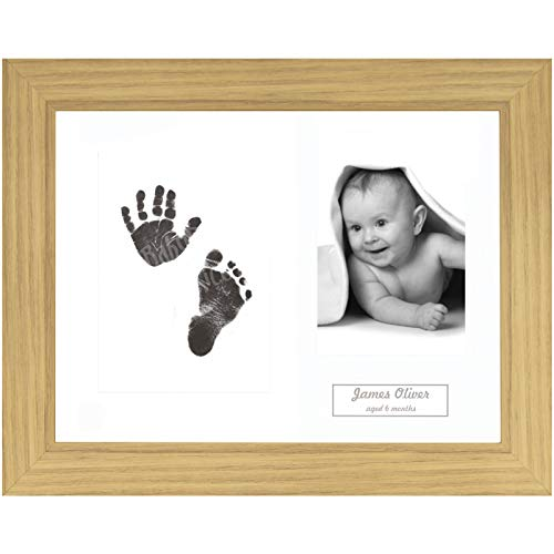 BabyRice Baby Hand & Footprint Kit Oak Effect Frame / White 3 Hole Mount / Black Inkless Prints from Anika-Baby