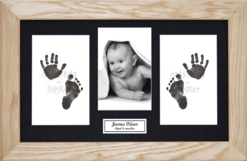 BabyRice Baby Hand & Footprints Kit / Black Inkless Prints / Solid Oak Wooden Frame with Black Mount Display from Anika-Baby