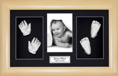 "BabyRice Large Baby Casting Kit (great for Twins!), 14.5x8.5"" Beech Effect Frame, Black mount, Silver metallic paint from Anika-Baby"