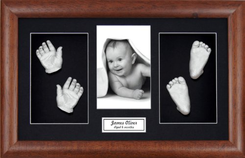 "BabyRice Large Baby Casting Kit (great for Twins!), 14.5x8.5"" Dark Wood Frame, Black mount, Silver metallic paint from BabyRice"