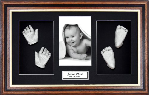 "BabyRice Large Baby Casting Kit (great for Twins!), 14.5x8.5"" Mahogany/Gold Trim Frame, Black mount, Silver metallic paint from Anika-Baby"