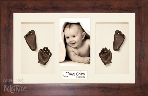 "BabyRice Large Baby Casting Kit (great for Twins!), 14.5x8.5"" Mahogany Effect Frame, Cream Mount, Bronze Metallic Paint from Anika-Baby"
