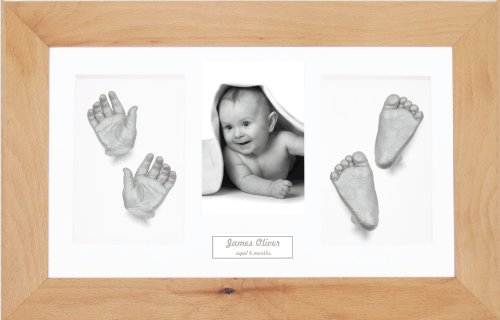 "BabyRice Large Baby Casting Kit (great for Twins!), 14.5x8.5"" Real Beech Frame, White mount, Silver metallic paint from Anika-Baby"