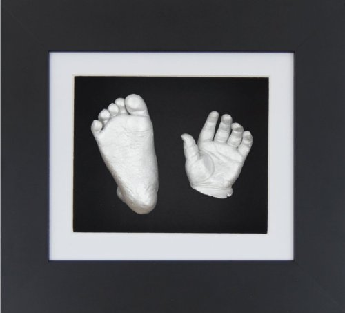 "BabyRice New Baby Casting Kit with 6x5"" Black 3D Box Display Frame / White Mount / Black Backing / Silver paint from Anika-Baby"