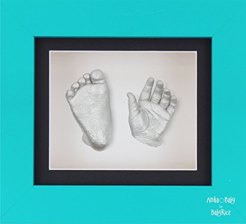 "BabyRice New Baby Casting Kit with 6x5"" Blue 3D Box Display Frame/Black Mount/White Backing/Silver paint from BabyRice"