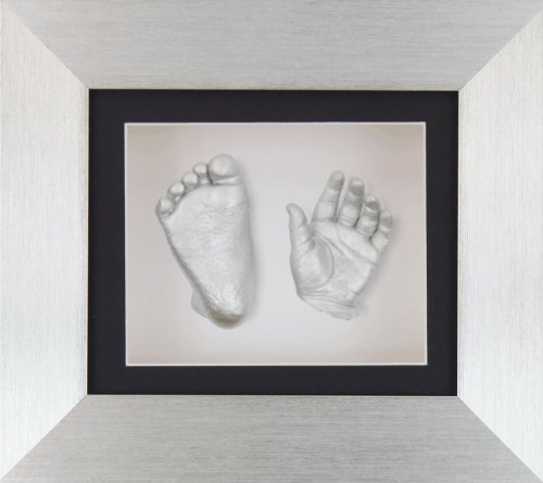 "BabyRice New Baby Casting Kit with 6x5"" Brushed Silver 3D Box Display Frame/Black Mount/White Backing/Silver paint from BabyRice"