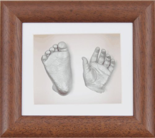 "BabyRice New Baby Casting Kit with 6x5"" Dark Wood 3D Box Display Frame/White Mount/White Backing/Silver paint from BabyRice"