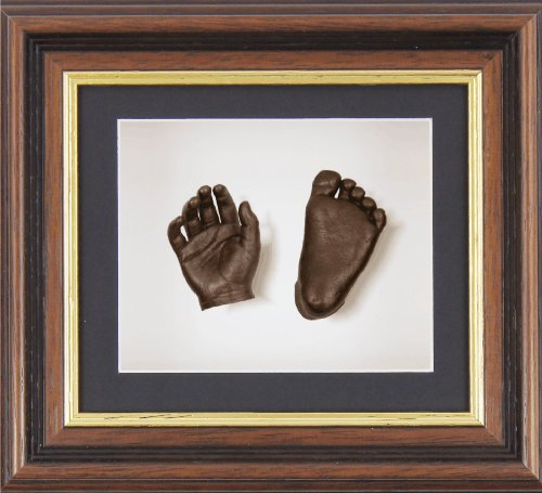 "BabyRice New Baby Casting Kit with 6x5"" Mahogany/Gold Trim 3D Box Display Frame / Black Mount / White Backing / Bronze Paint from Anika-Baby"
