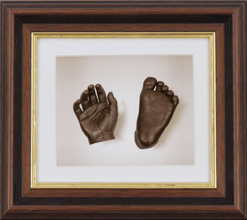 "BabyRice New Baby Casting Kit with 6x5"" Mahogany/Gold Trim 3D Box Display Frame / White Mount / White Backing / Bronze Paint from Anika-Baby"