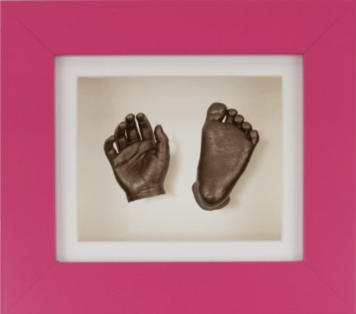 "BabyRice New Baby Casting Kit with 6x5"" Pink 3D Box Display Frame / Cream Mount / Cream Backing / Bronze paint from Anika-Baby"