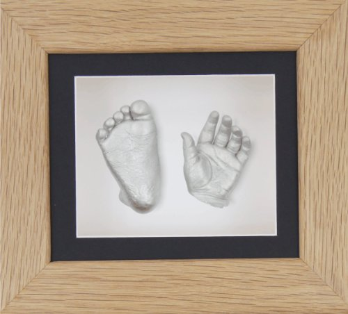 "BabyRice New Baby Casting Kit with 6x5"" Solid Oak 3D Box Display Frame/Black Mount/White Backing/Silver paint from BabyRice"