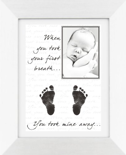 BabyRice New Baby Hand and Footprint Kit with Display Photo Frame - YOUR baby's handprints! **Choice of frames available on this listing** (MINE:  SILVER FRAME / WHITE MOUNT) from Anika-Baby