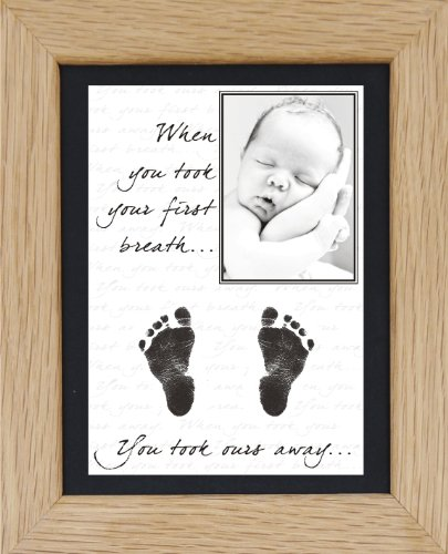 BabyRice New Baby Hand and Footprint Kit with Display Photo Frame - YOUR baby's handprints! **Choice of frames available on this listing** (OURS: SOLID OAK / BLACK MOUNT) from Anika-Baby
