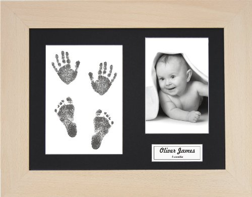 BabyRice New Baby Handprint Footprint Kit, Inkless Wipe with Real Beech Wood Display Frame, Black Mount 0-3 yrs from Anika-Baby