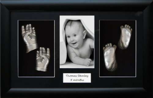 "Large / Twins Baby Casting Kit, 14.5x8.5"" Black 3D Display Frame, Metallic Silver paint by BabyRice from Anika-Baby"