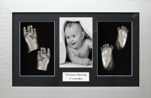 "Large / Twins Baby Casting Kit, 14.5x8.5"" Silver Frame, Black 4 hole mount, Silver metallic paint by BabyRice from Anika-Baby"