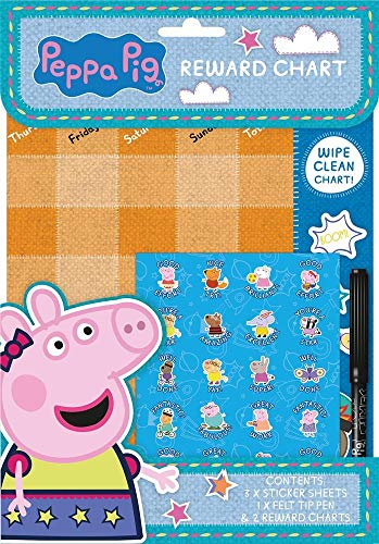 Childrens Wipe Clean Reward Charts With Stickers & Pen 3 Designs Weekly Planner (Peppa Pig) from Anker International