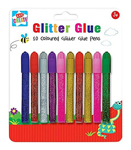Anker Kids Create Arts and Crafts Coloured Glitter Glue Pens, Plastic, Assorted Colour, 10-Piece from Anker