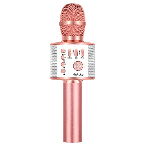 Ankuka Wireless Karaoke Microphones Machine, 4 in 1 Handheld Portable Bluetooth Home KTV Player, Superior Audio Quality for Singing & Recording, Compatible with Android & iOS (Rose Gold) from Ankuka