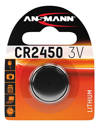 ANSMANN CR2450 Coin Battery [Pack of 1] Lithium 3V Button Cell Ideal For Digital Watches, Laser Pens, Car Keys, Clinical Thermometer, Tensiometer, and Fitness Appliances from Ansmann