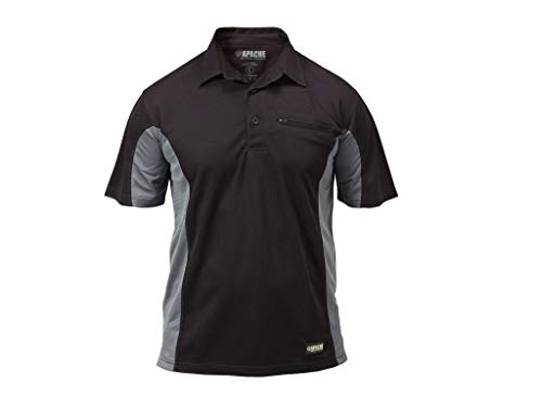Apache Men's Dry Max Moisture Wicking Polo - Black/Grey, Medium from Apache