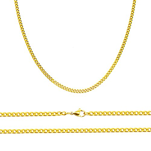 Aplstar Solid Gold Curb Chain Necklace 2mm thick 18ct Real Gold Plated Size: 16 18 20 22 24 inch/40 46 50 55 60 cm (46 CM) from Aplstar