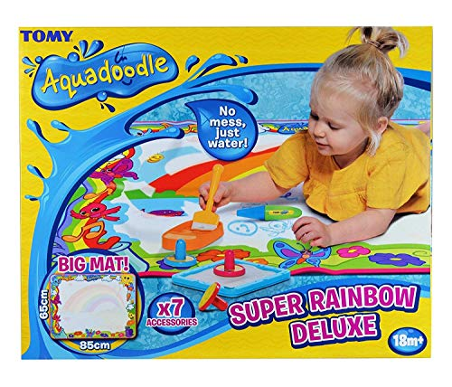 Aquadoodle Super Rainbow Deluxe Large Water Doodle Mat, Official TOMY No Mess Colouring & Drawing Game, Ideal Christmas Gift Suitable for Toddlers and Children From 18 Months from AquaDoodle