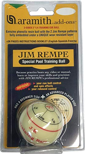 Aramith 5.7cm Regulation Size 2-Sided Billiard/Pool Ball: Jim Rempe Training Cue Ball with Instruction Manual from Aramith