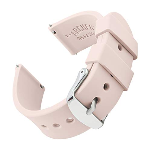 Archer Watch Straps | Silicone Quick Release Soft Rubber Replacement Watch Bands for Men and Women, Watches and Smartwatches (Pale Rose, 20mm) from Archer Watch Straps