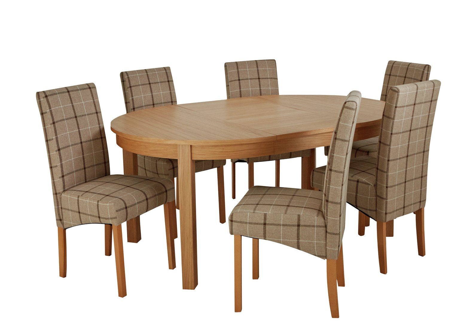 Argos Home Clifton Extendable Table & 6 Chairs - Mink Check from Argos Home