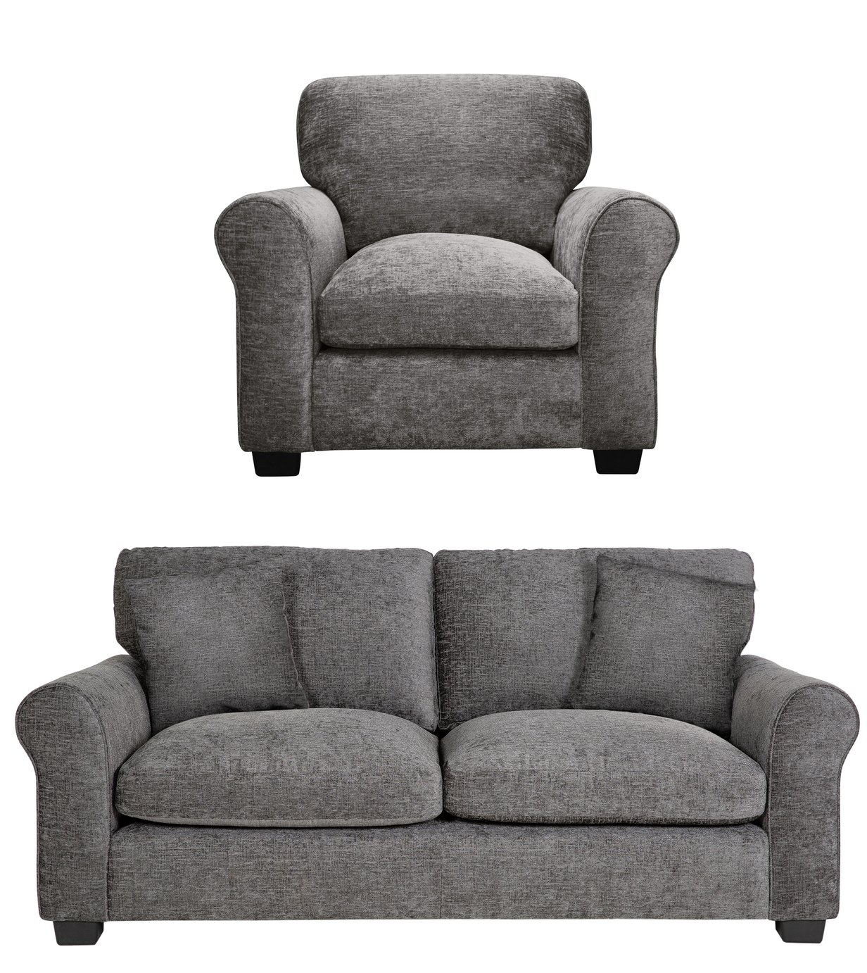 Argos Home Tammy Fabric Chair and 3 Seater Sofa - Charcoal from Argos Home