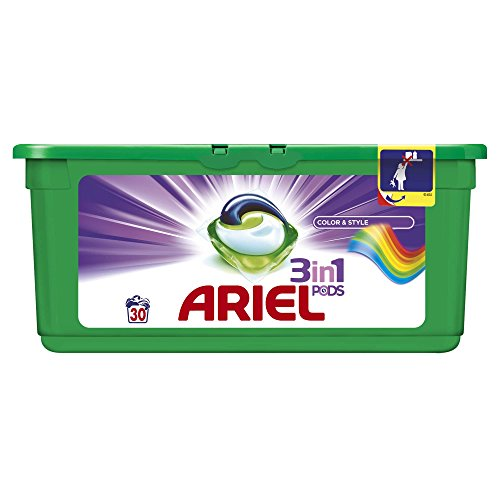 Ariel 3-in-1 Pods Colour and Style Washing Capsules, 30 Washes (with Cleaning at Low 30 Degrees Celsius Temperature and Long-Lasting Scent) from Ariel