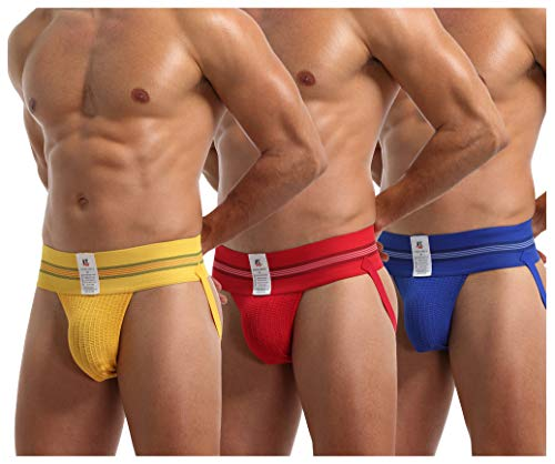 Arjen Krons Men's Jock Strap Underwear Athletic Supporter Sports Jockstraps, M&L/29.1-31.9 inch, Yellow/Blue/Red(3-pack) from Arjen Kroos