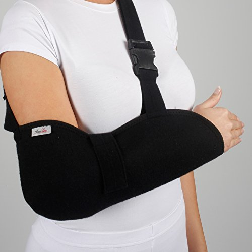 ArmoLine Deluxe Arm Sling Breathable Fabric for Black Broken Arm Bandage for Broken Wrist Shoulder immobilizer (M) from ArmoLine