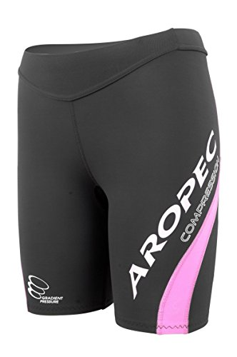 Aropec Ladies Compression Shorts Pants Triathlon Running Sports XXS - XL[Black/Purple,L] from Aropec