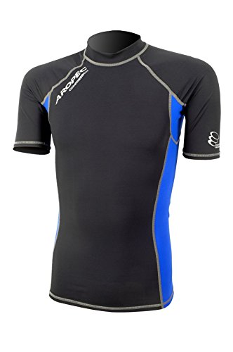 Aropec Mens Compression Short Sleeve Black Top Triathlon Run Sporting Endeavours[Black/Blue,XS] from Aropec