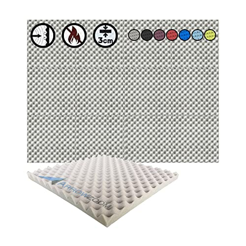 Super Dash (12 Pack) of 50 X 50 X 3 cm Gray Convoluted Egg Crate Acoustic Home Studio Soundproof Treatment Accessories Foam Wall Panel Tiles SD1052 (GRAY) from Arrowzoom