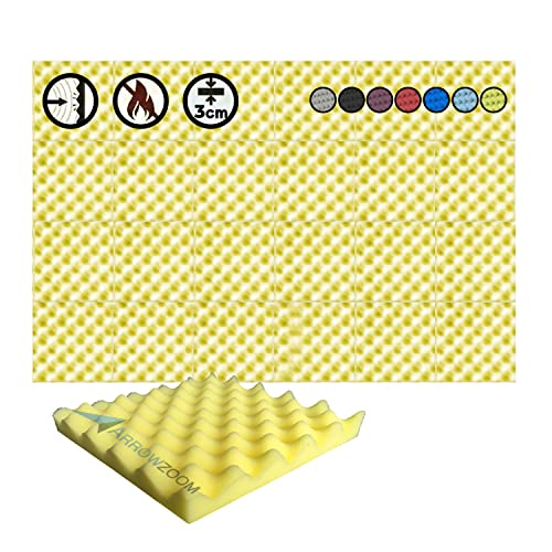 Super Dash (24 Pack) of 25 X 25 X 3 cm Yellow Convoluted Egg Crate Acoustic Home Studio Soundproof Treatment Accessories Foam Wall Panel Tiles SD1052 (YELLOW) from Arrowzoom