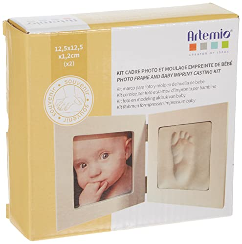 Artemio Kit cast footprint of the baby and picture frame, wood, white, 12.5 x 12.5 x 1.2 cm from Artemio