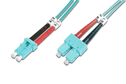 Digitus FO patch cable OM3-10 m LC to SC fiber optic cable - LSZH - Duplex Multimode 50/125µ - 10 GBit/s - Turquoise from Digitus
