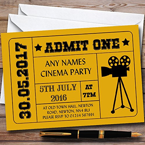 Pack Of Ten Children's Party Invitations - 10 x Golden Yellow Admit One Movie Film Cinema Children's Birthday Party Invites from Assured Supplies