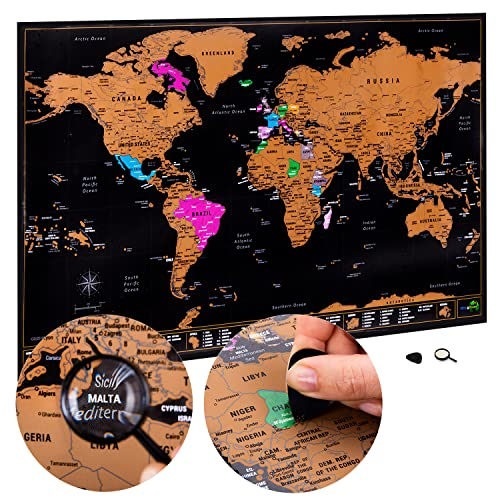 Scratch Off World Map Large - Ultra detailed with all U.S States - Accessories Kit and Gift Tube - 70 x 42cm - Deluxe Cartographic design by Atlas&Green from Atlas & Green