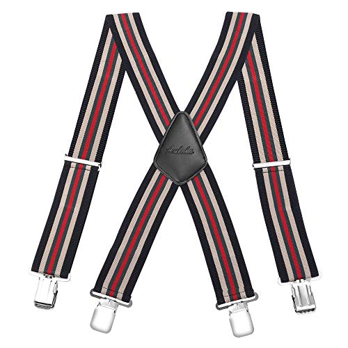50MM Striped Elastic and Adjustable Men Trouser Braces Suspender X Shape with Metal Clips from Aulola