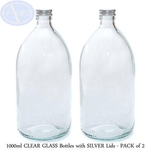 1000ml CLEAR GLASS Bottles with SILVER Lids - PACK of 2 from Aura Essential Oils