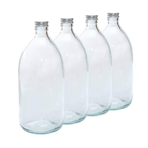 500ml CLEAR GLASS Bottles with SILVER Lids - PACK of 4 from Aura Essential Oils